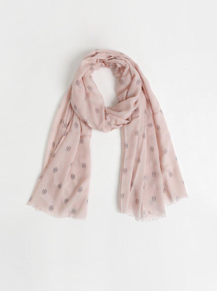 Světle růžový dámský vzorovaný šátek Tommy Hilfiger Monogram