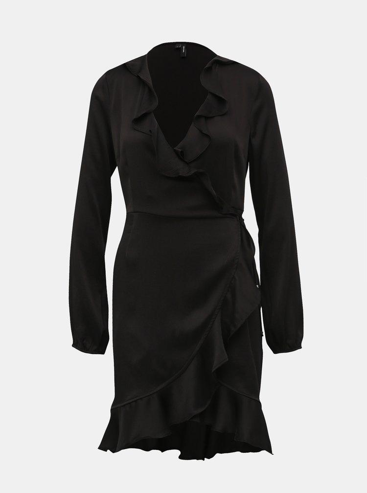 Černé zavinovací šaty VERO MODA Henna