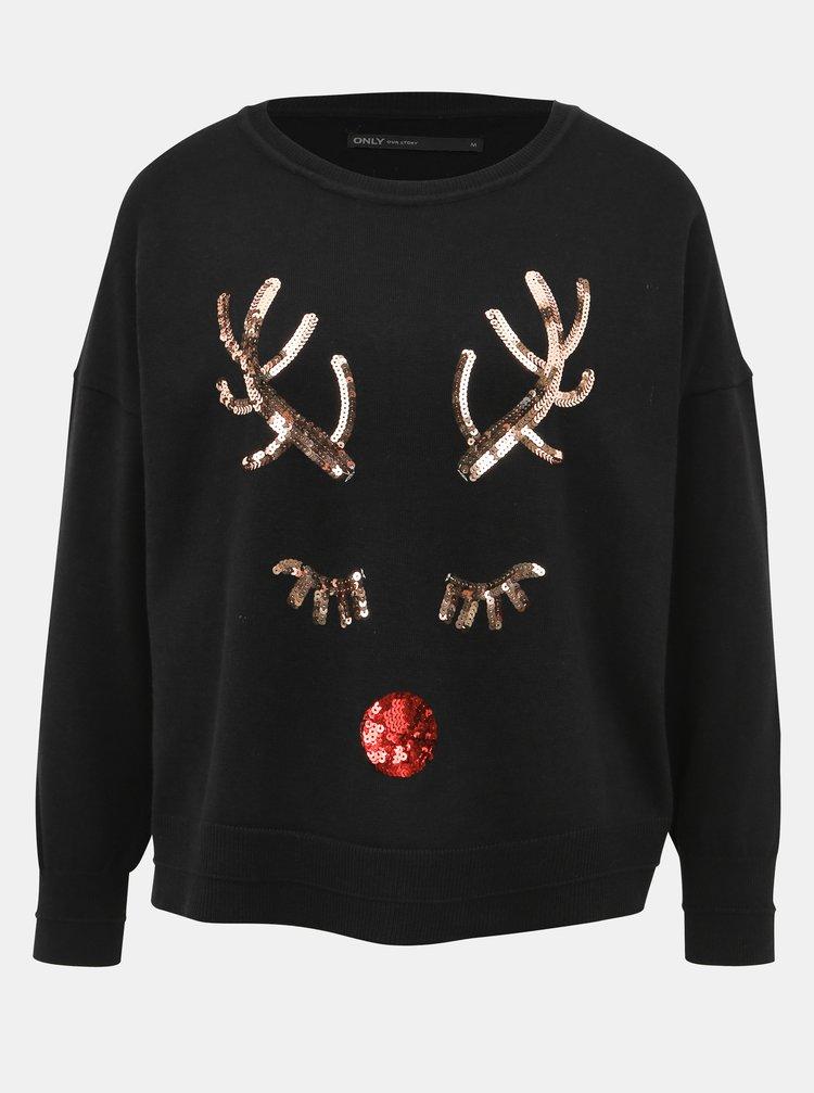 Černý svetr s vánočním motivem ONLY Xdeer