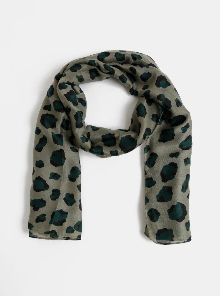 Khaki šátek s leopardím vzorem Pieces Vonjana