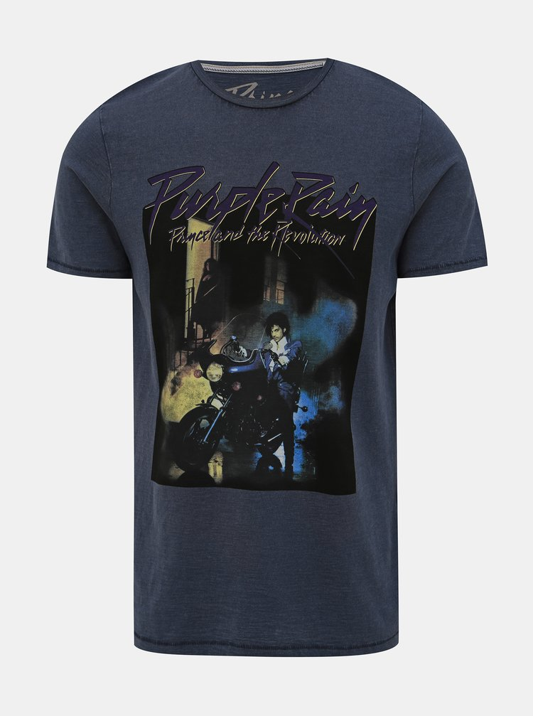 Tmavomodré tričko s potlačou Jack & Jones Brayden
