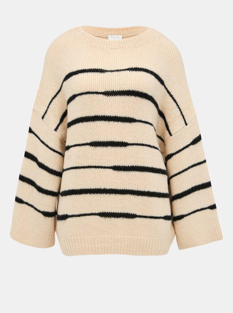 Béžový pruhovaný sveter VILA Ziggo