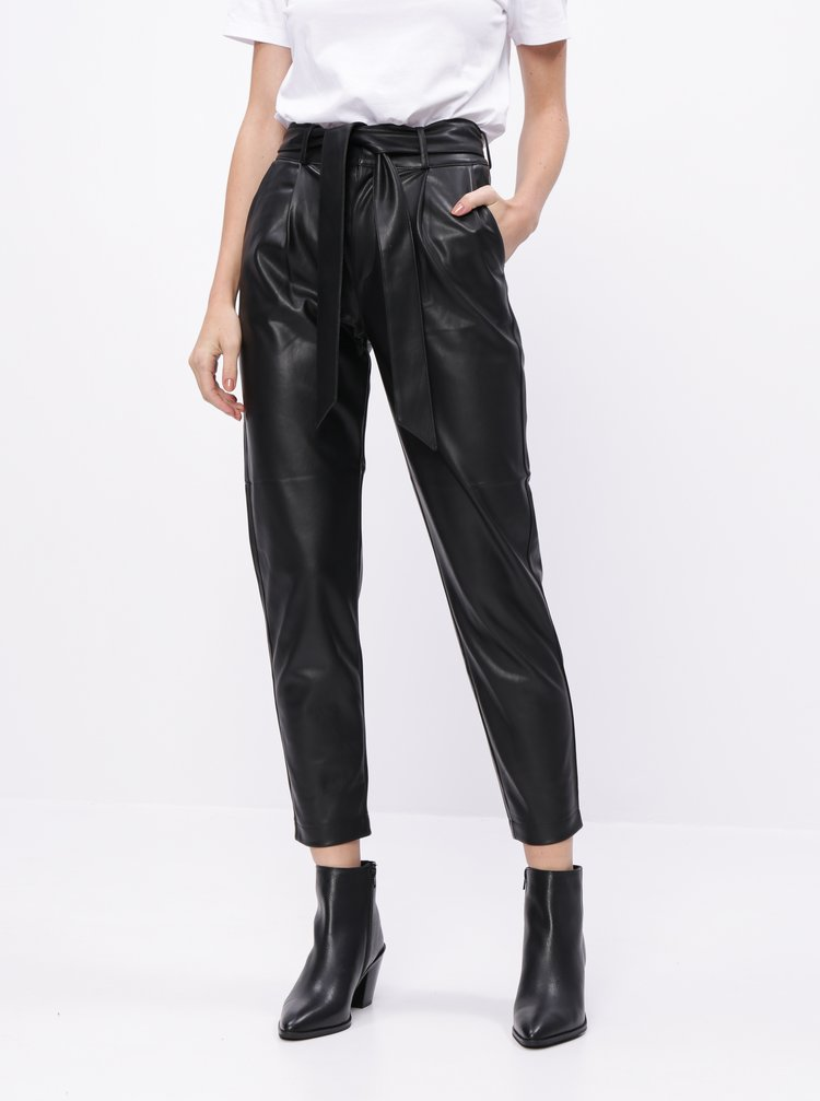 Černé koženkové kalhoty Dorothy Perkins