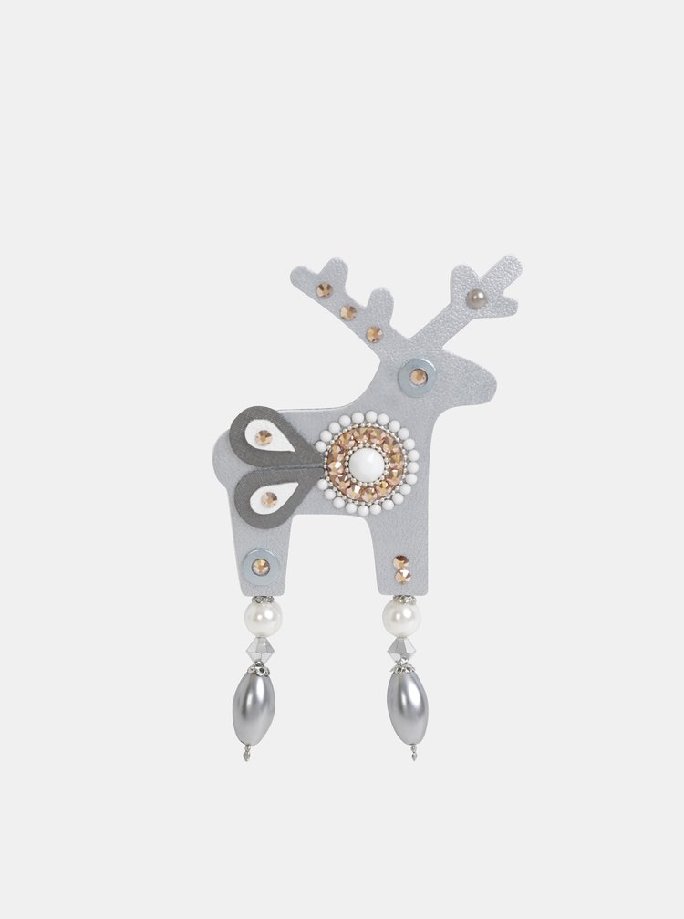 Velká brož ve stříbrné barvě s kamínky Swarovski Crystals Deers Isabellia