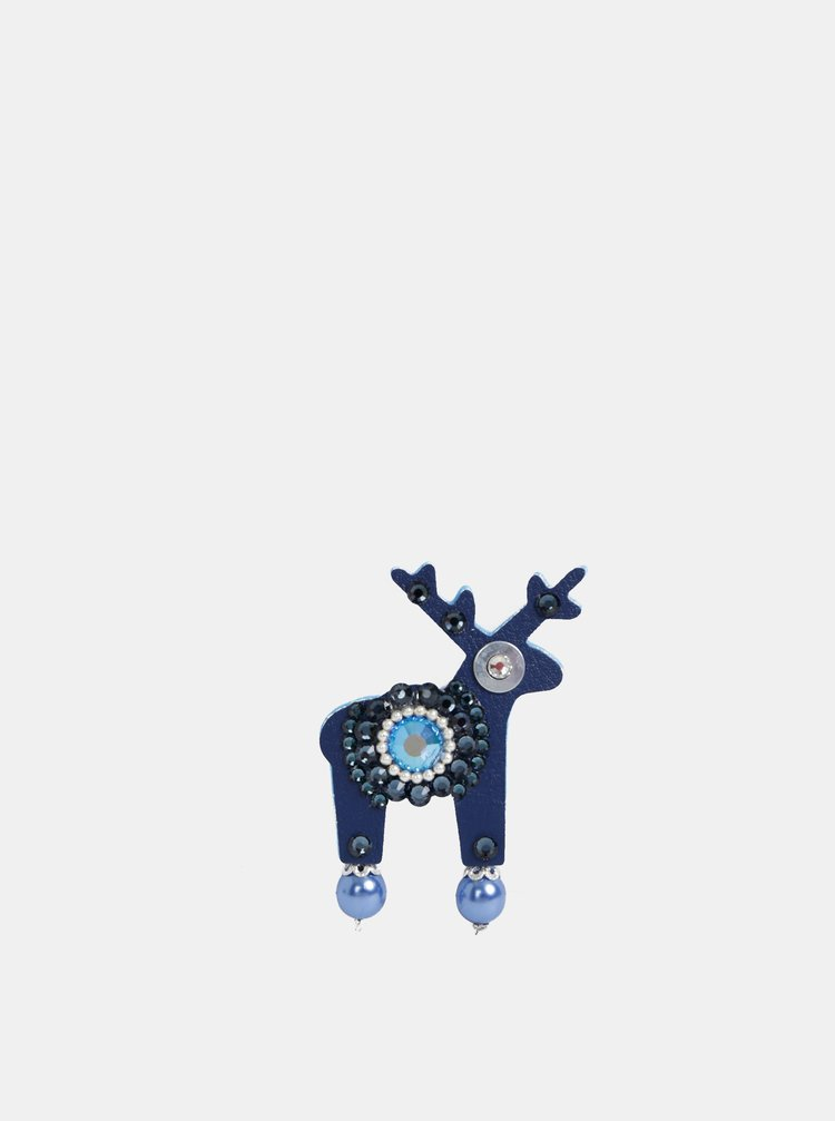 Tmavě modrá malá brož s kamínky Preciosa Components Deers Modrásek