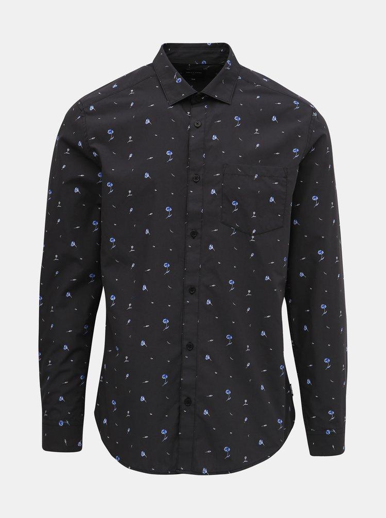 Tmavošedá kvetovaná slim fit košeľa ONLY & SONS Flow