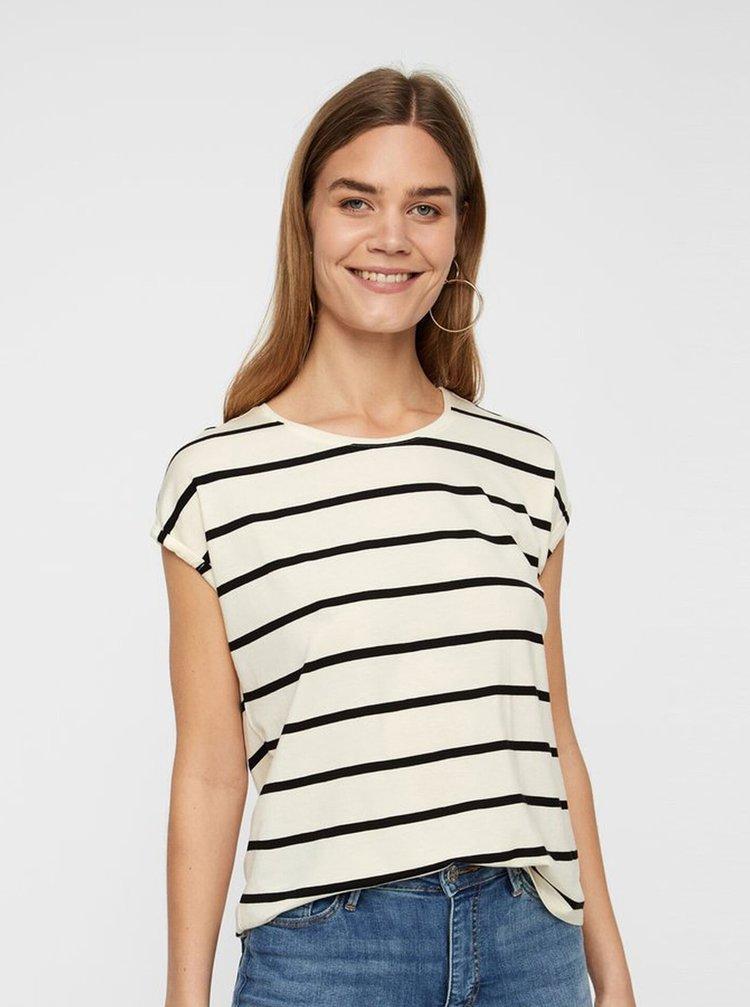 Krémové pruhované basic tričko AWARE by VERO MODA Plain