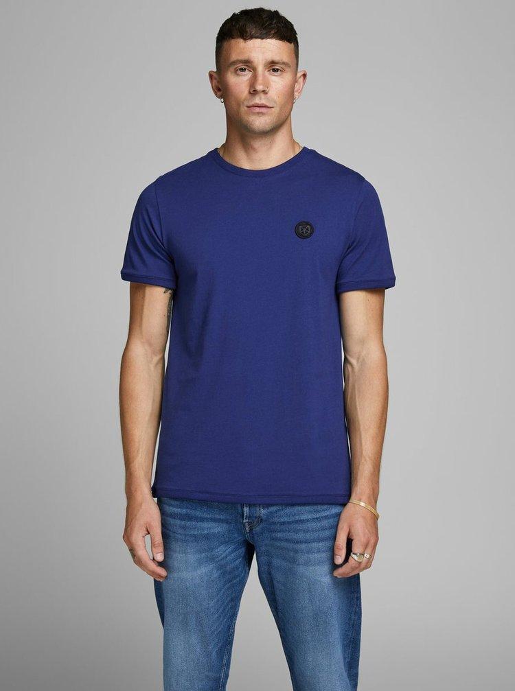 Modré slim fit tričko Jack & Jones Booker