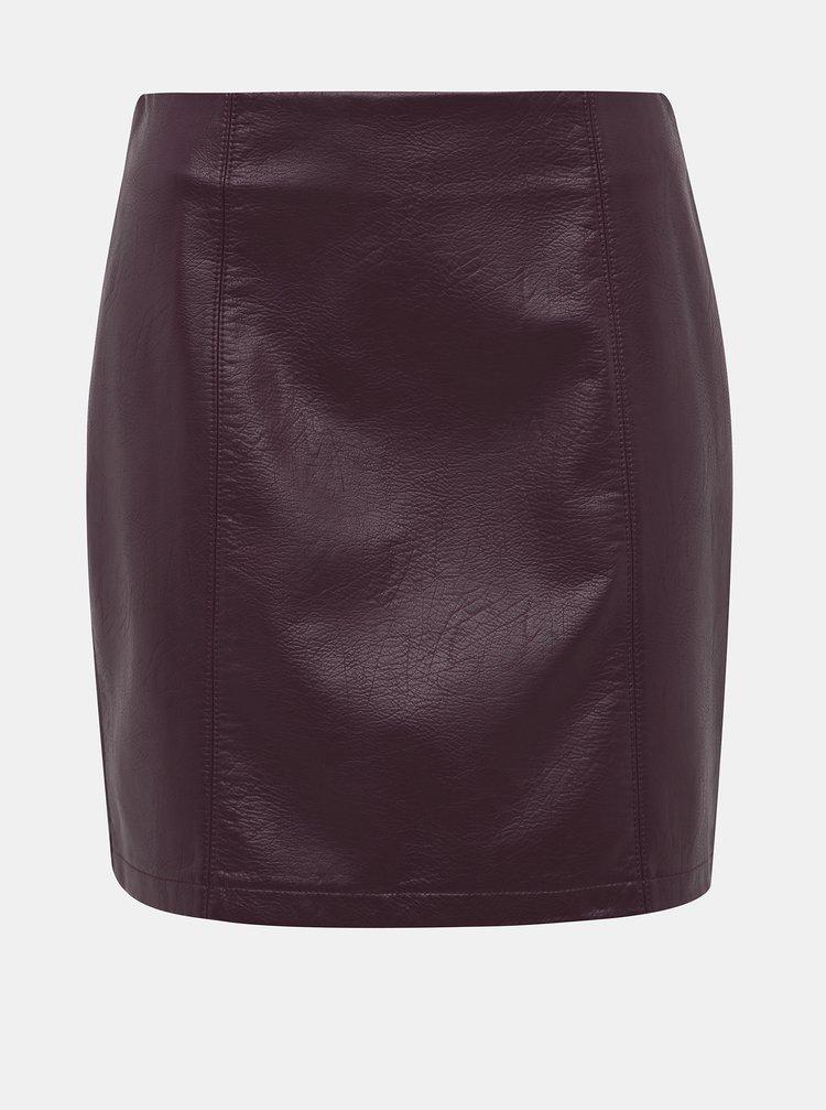 Vínová koženková minisukně Dorothy Perkins Seam