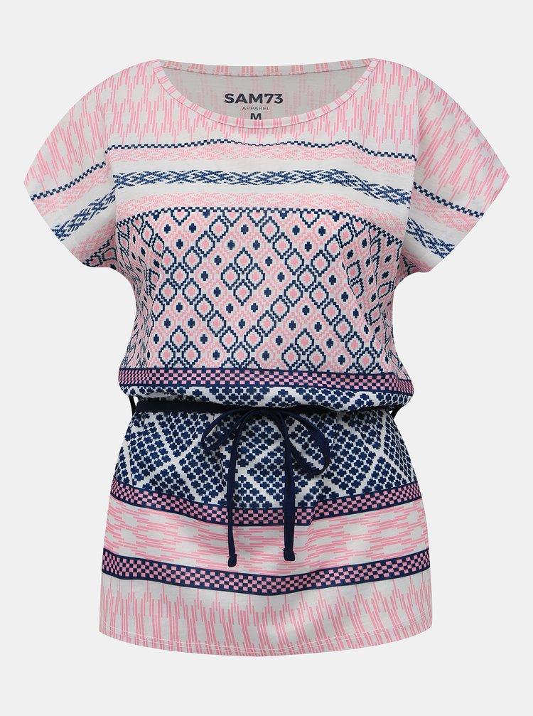 Rúžové dámske vzorované tričko SAM 73