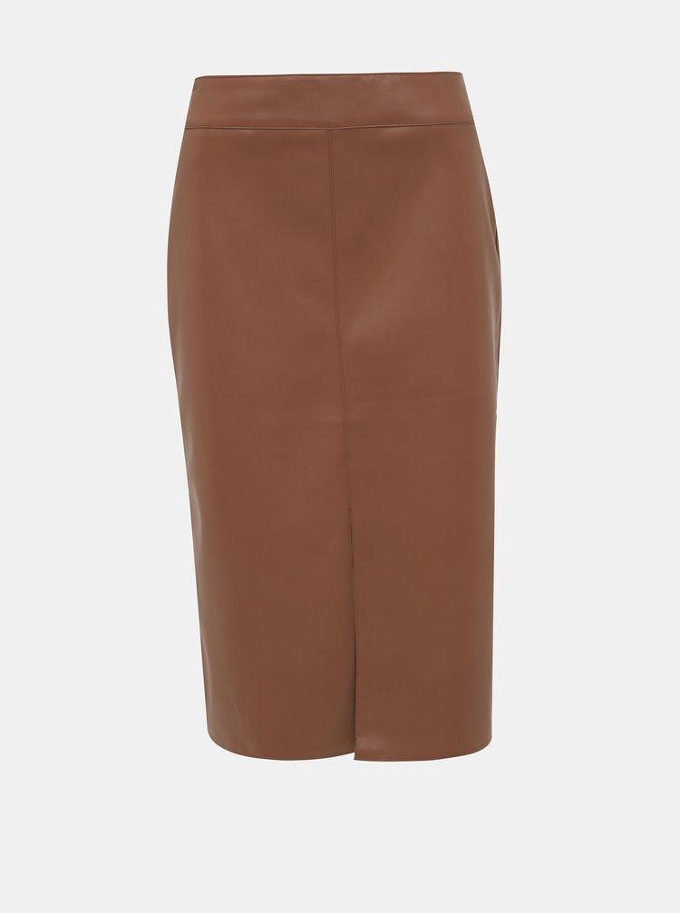 Hnedá koženková púzdrová sukňa Dorothy Perkins Tan