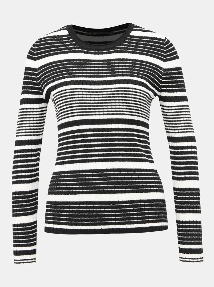 Bielo-čierny pruhovaný ľahký sveter ONLY Natalia