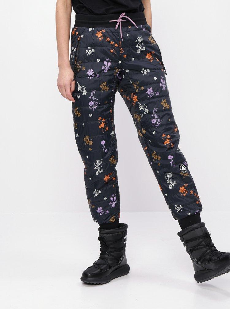 Čierne kvetované prešívané funkčné nohavice Maloja Viturin