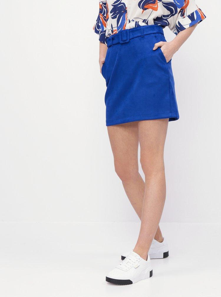 Modrá sukně v semišové úpravě  VERO MODA Chili