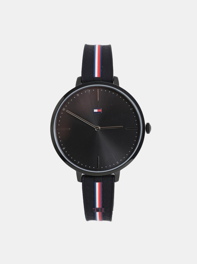 Dámské hodinky s černým silikonovým páskem Tommy Hilfiger