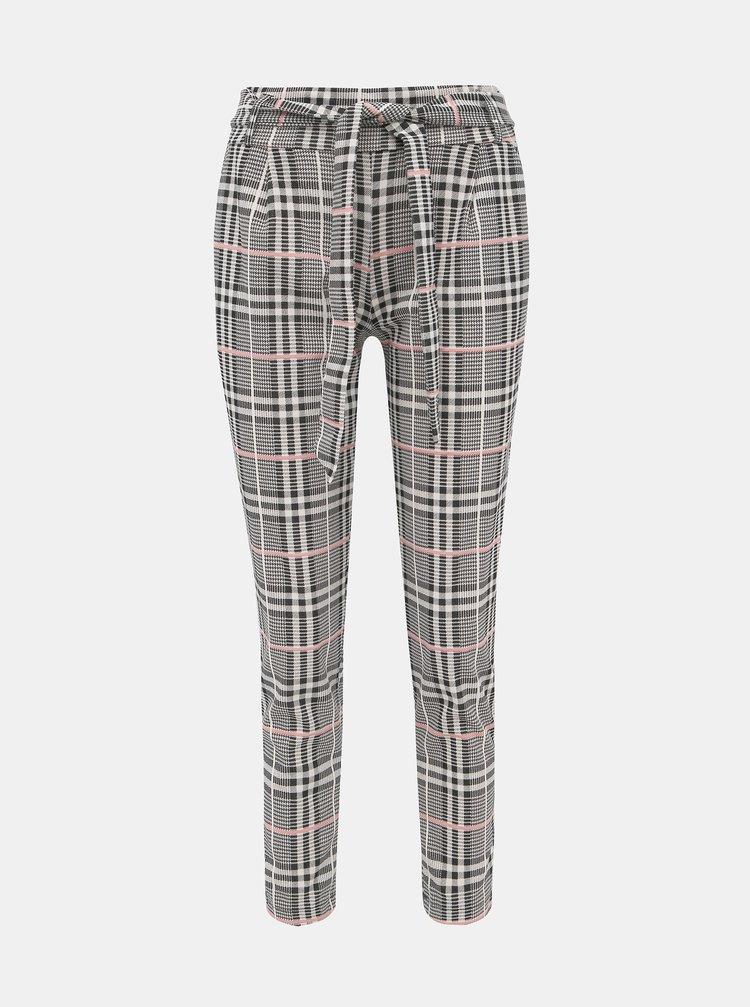 Šedé dámské kostkované zkrácené kalhoty Haily´s Emilia