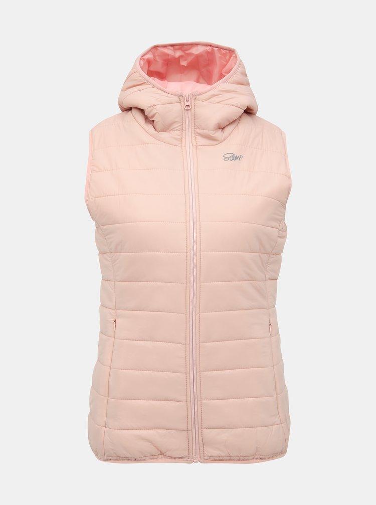 Světle růžová dámská prošívaná vesta SAM 73