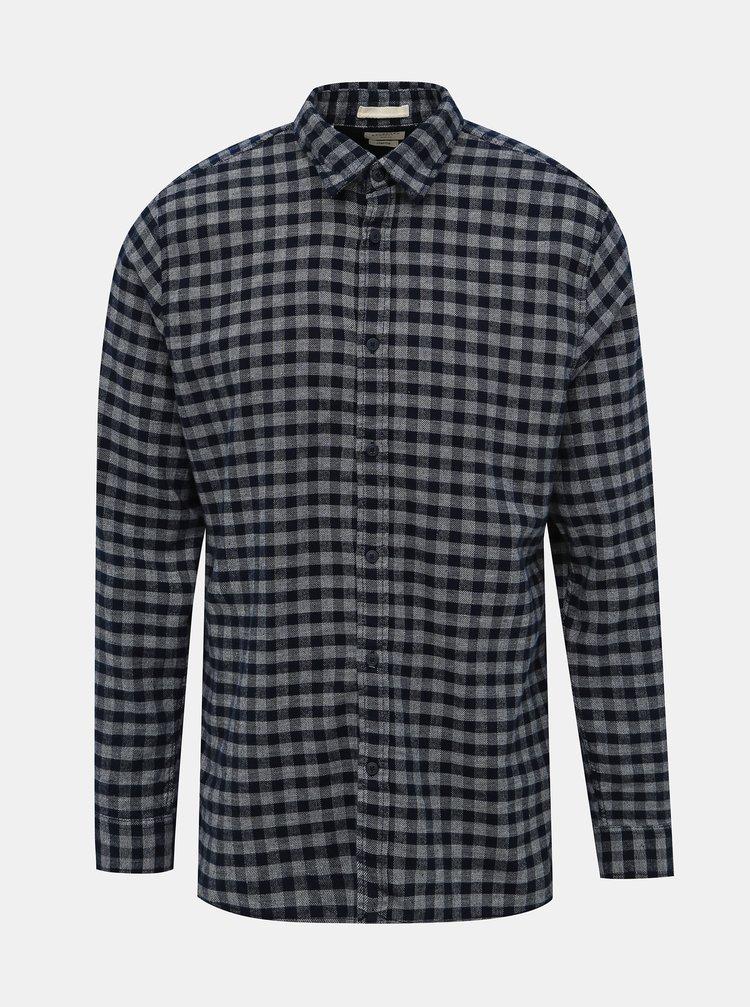 Šedo-modrá kockovaná slim fit košeľa Selected Homme Seamus
