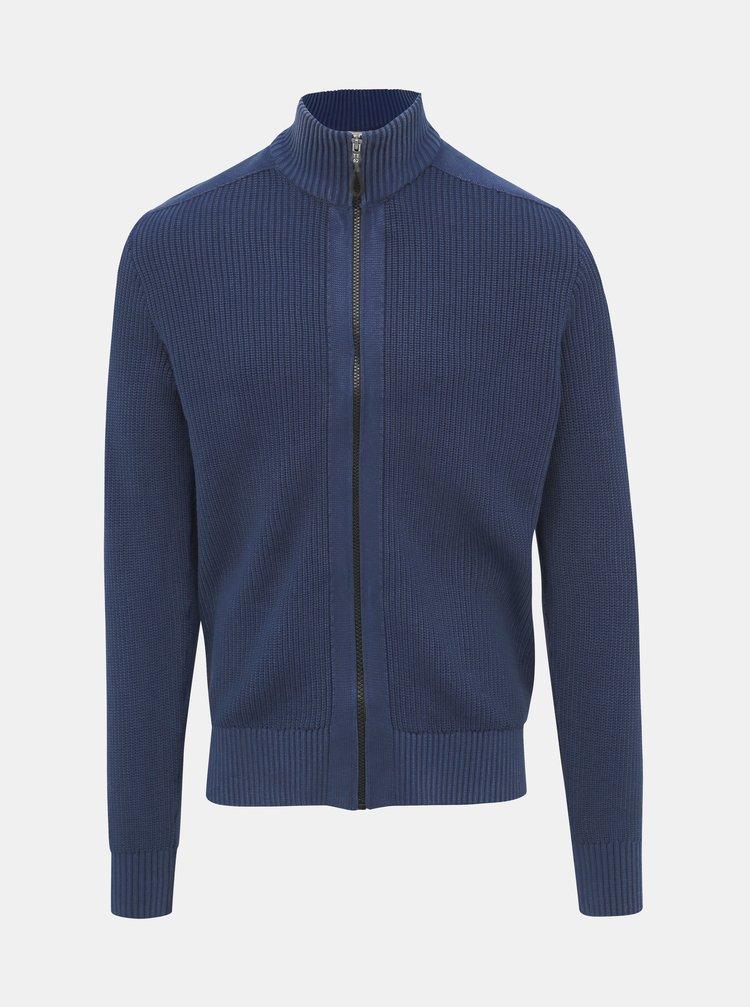 Modrý pánský svetr na zip Tom Tailor