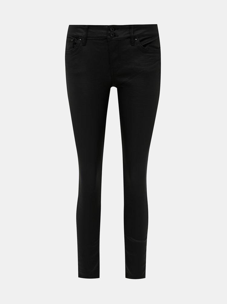 Čierne skinny fit nohavice s povrchovou úpravou Tom Tailor Denim