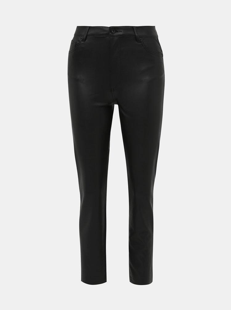 Černé koženkové straight fit kalhoty ONLY Emily