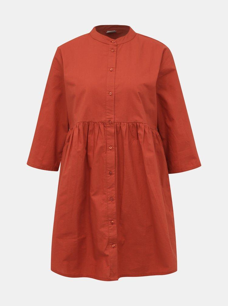 Cihlové košilové šaty Jacqueline de Yong Ulle