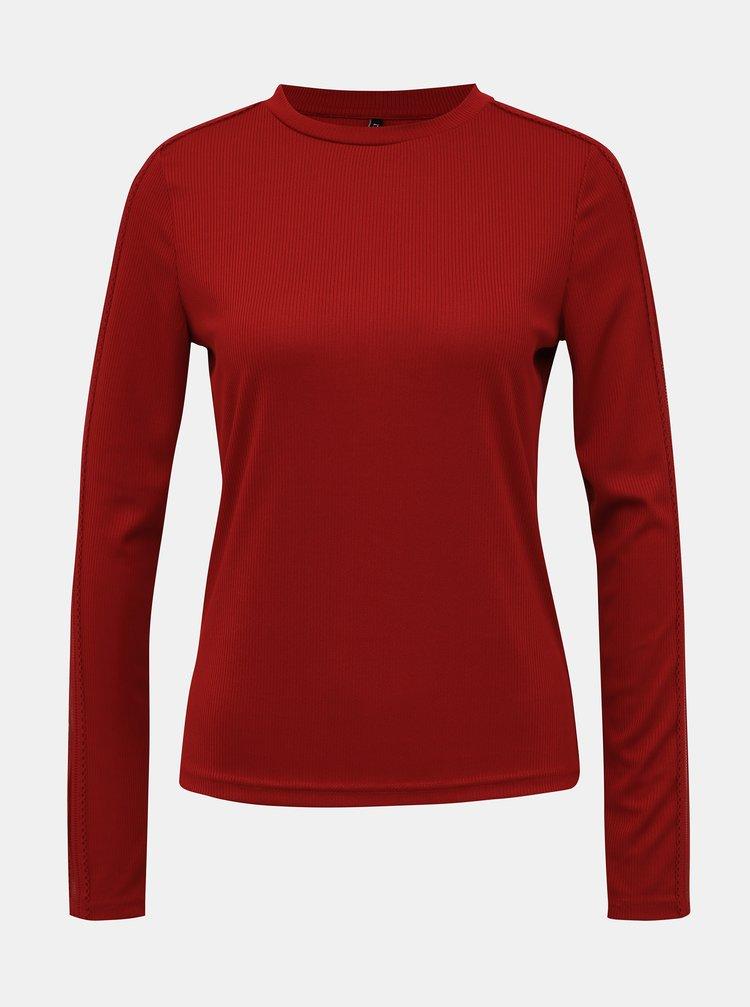 Červené tričko s krajkovými detailmi ONLY Rio