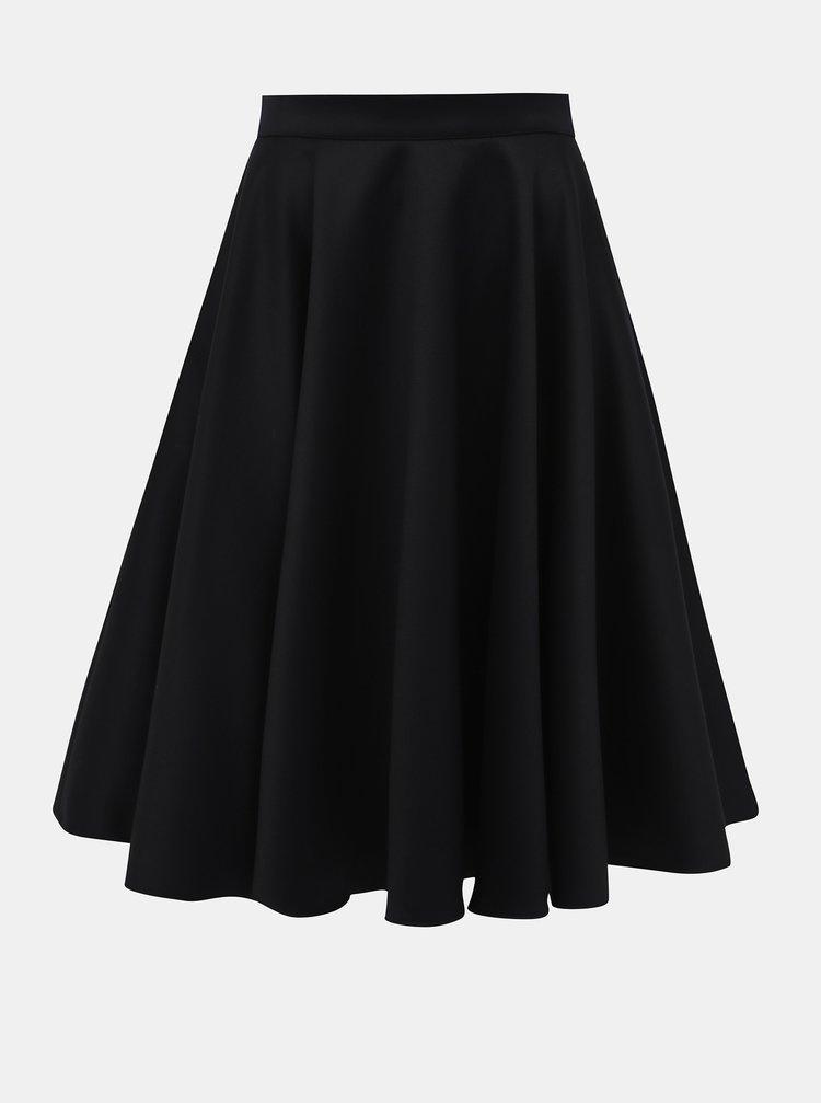 Tmavě modrá kolová vlněná sukně MONLEMON