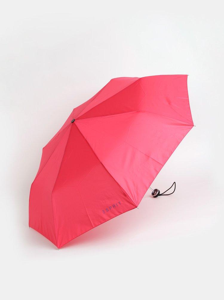 Tmavě růžový skládací deštník Esprit