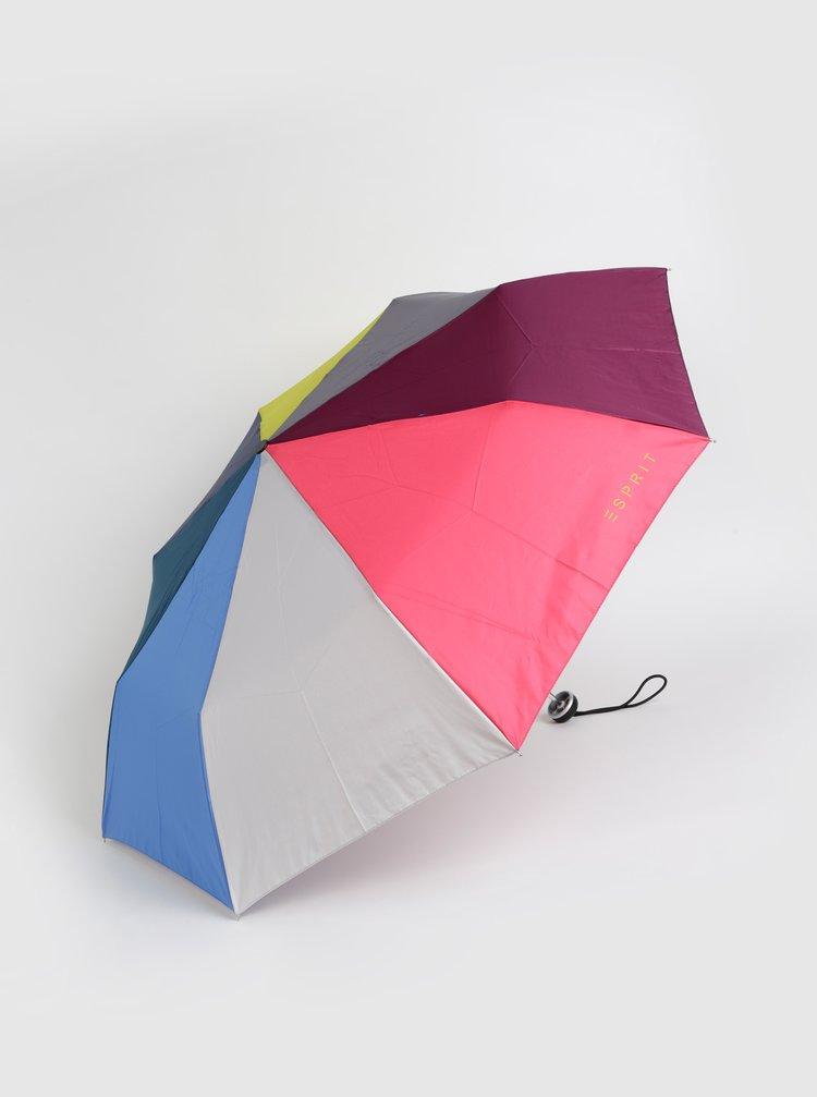 Růžovo-šedý skládací deštník Esprit
