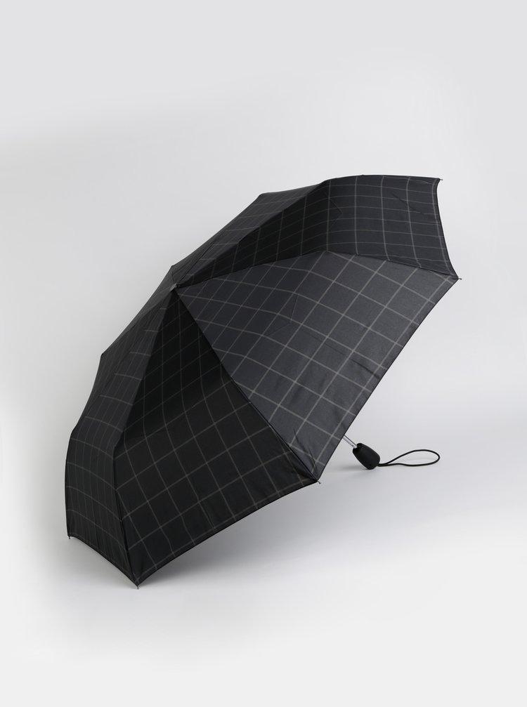 Černý kostkovaný skládací vystřelovací deštník Esprit Gents Tecmatic