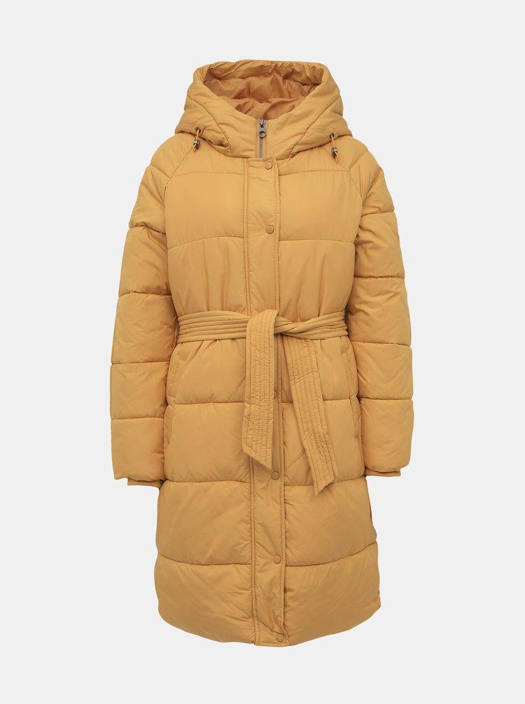 Horčicový prešívaný zimný kabát VERO MODA Pilipamia