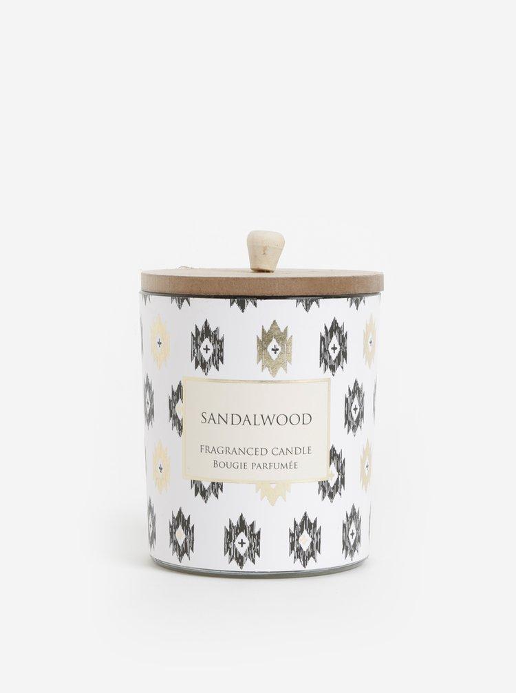 Bílá vzorovaná svíčka s vůní santalového dřeva SIFCON