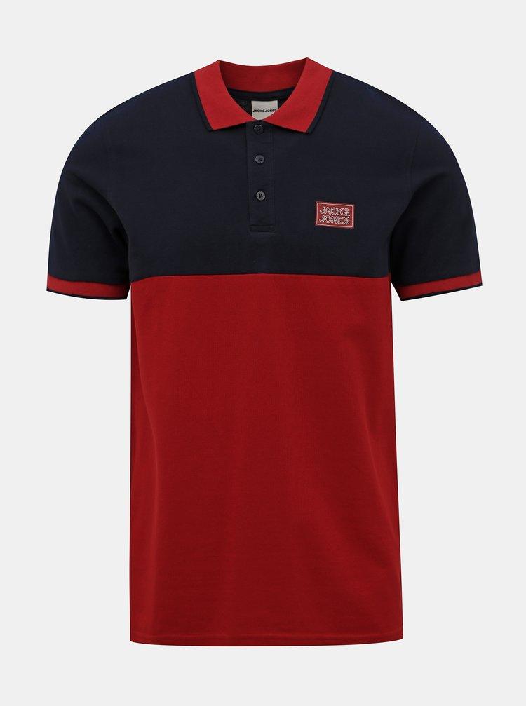 Modro-červené polo tričko Jack & Jones Zero