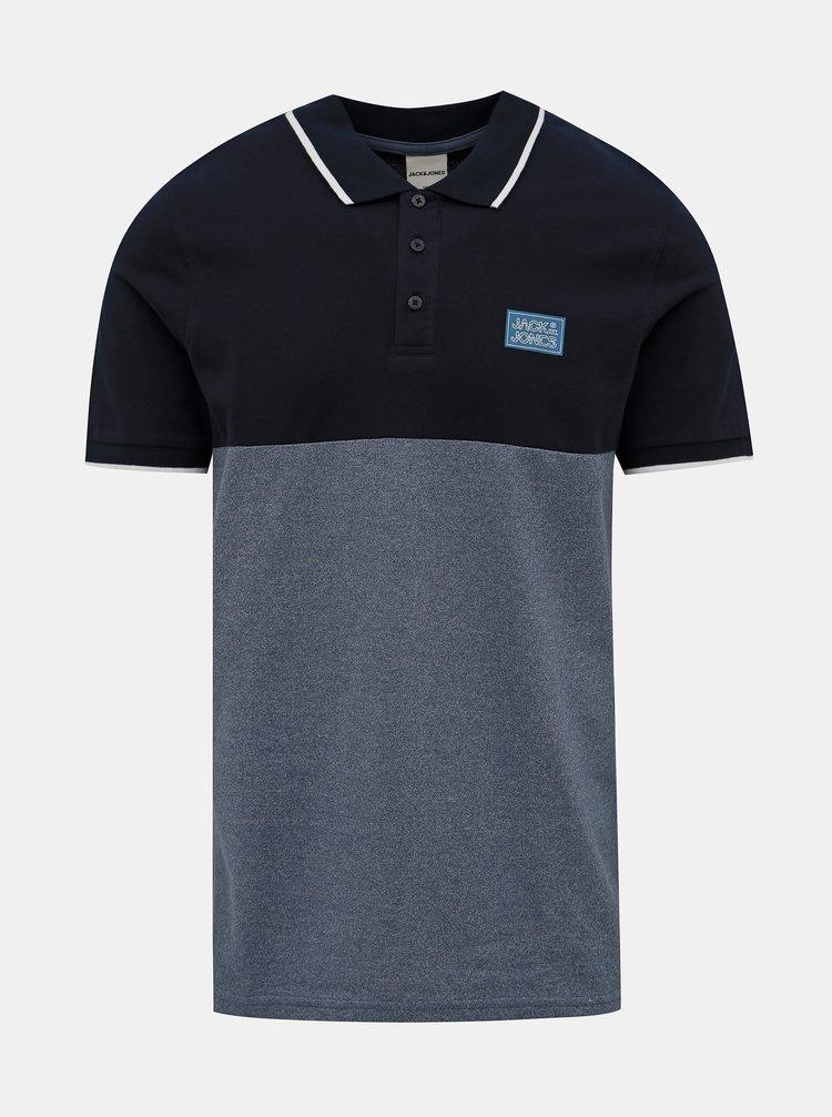 Modré polo tričko Jack & Jones Zero