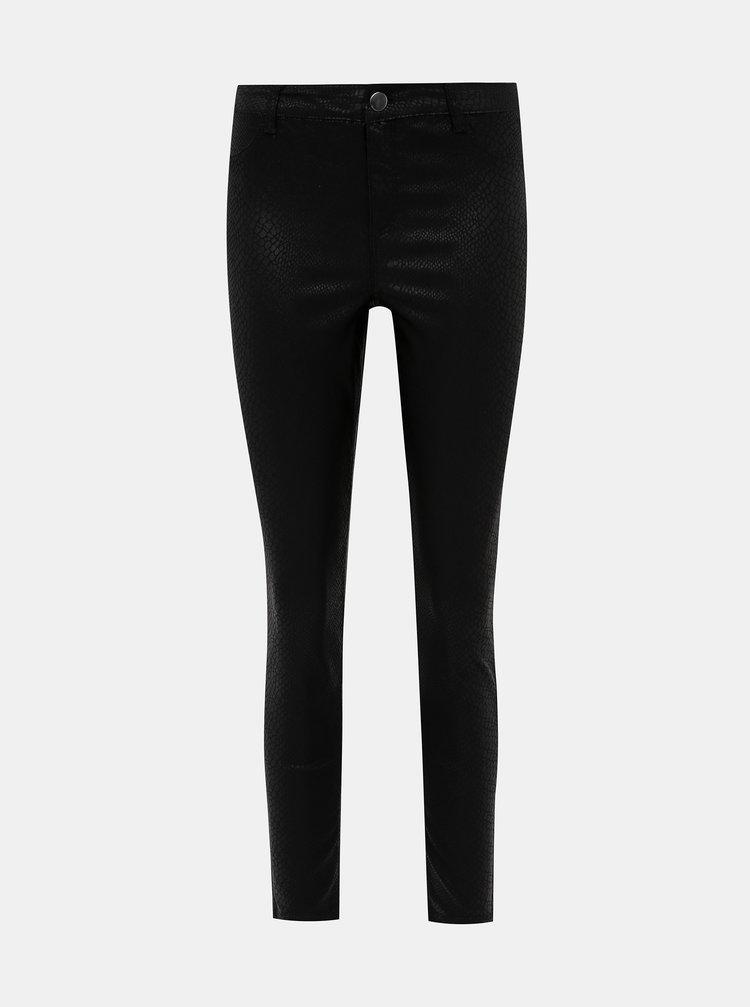 Čierne skinny fit nohavice s hadím vzorom Dorothy Perkins Frankie