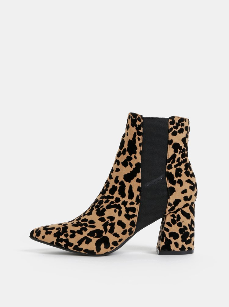 Hnědé kotníkové boty s gepardím vzorem Dorothy Perkins