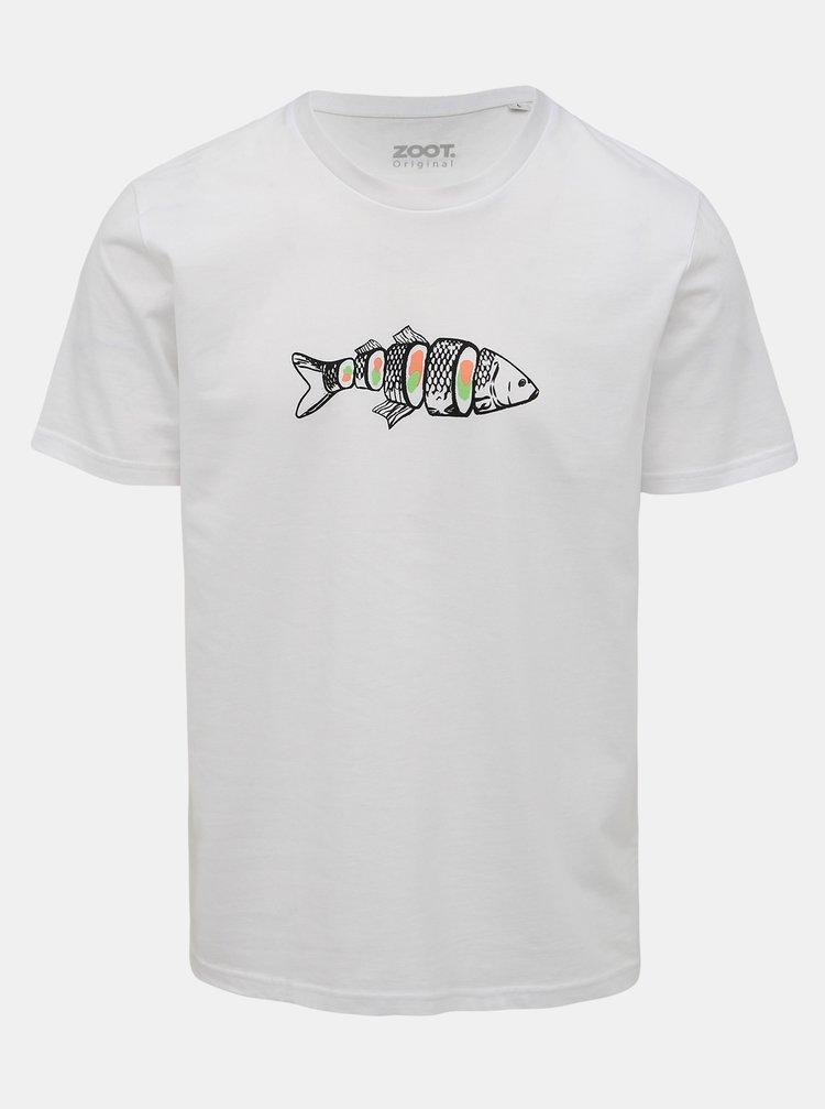 Bílé pánské tričko s potiskem ZOOT Original Kapr sushi