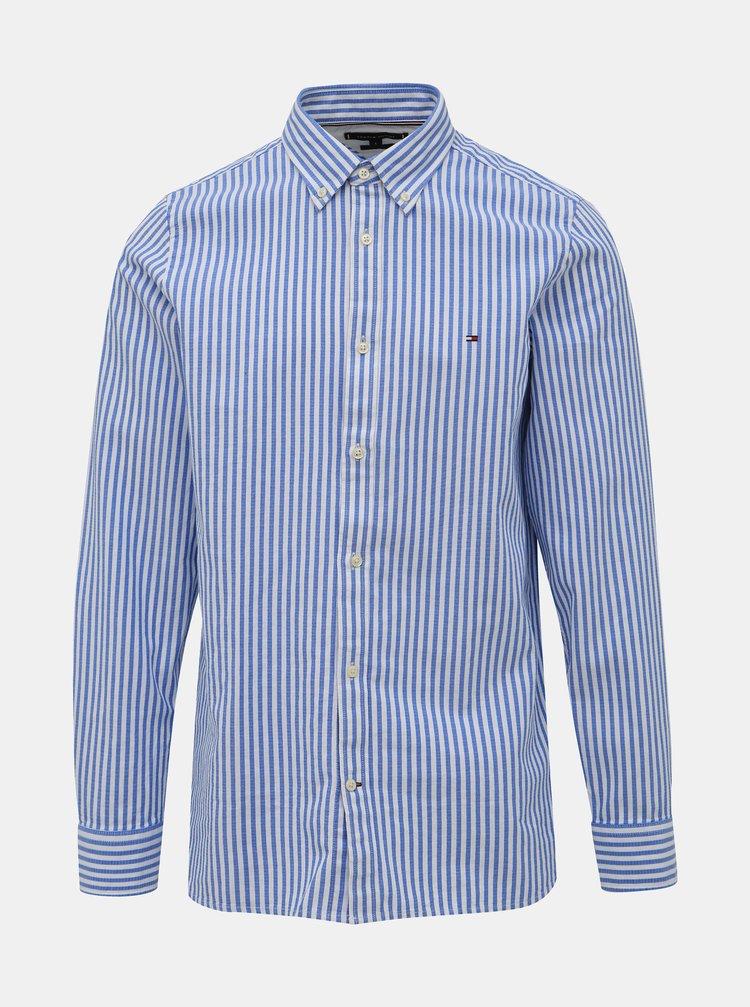 Bielo-modrá pánska pruhovaná slim fit košeľa Tommy Hilfiger