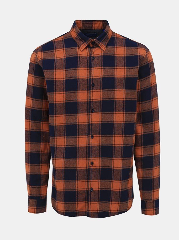 Hnědá kostkovaná flanelová slim fit košile Jack & Jones Tommy