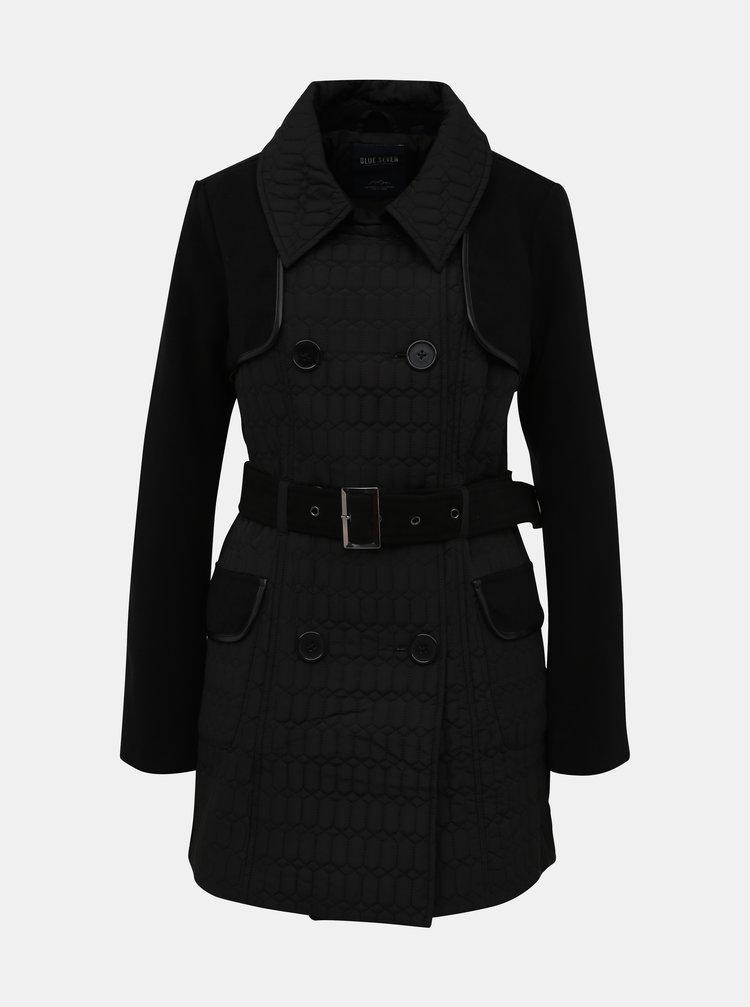 Čierny dámsky prešívaný zimný kabát Blue Seven