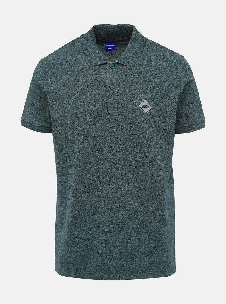 Zelené polo tričko Jack & Jones Melange