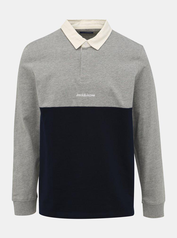 Modro-šedé polo tričko Jack & Jones Rugby