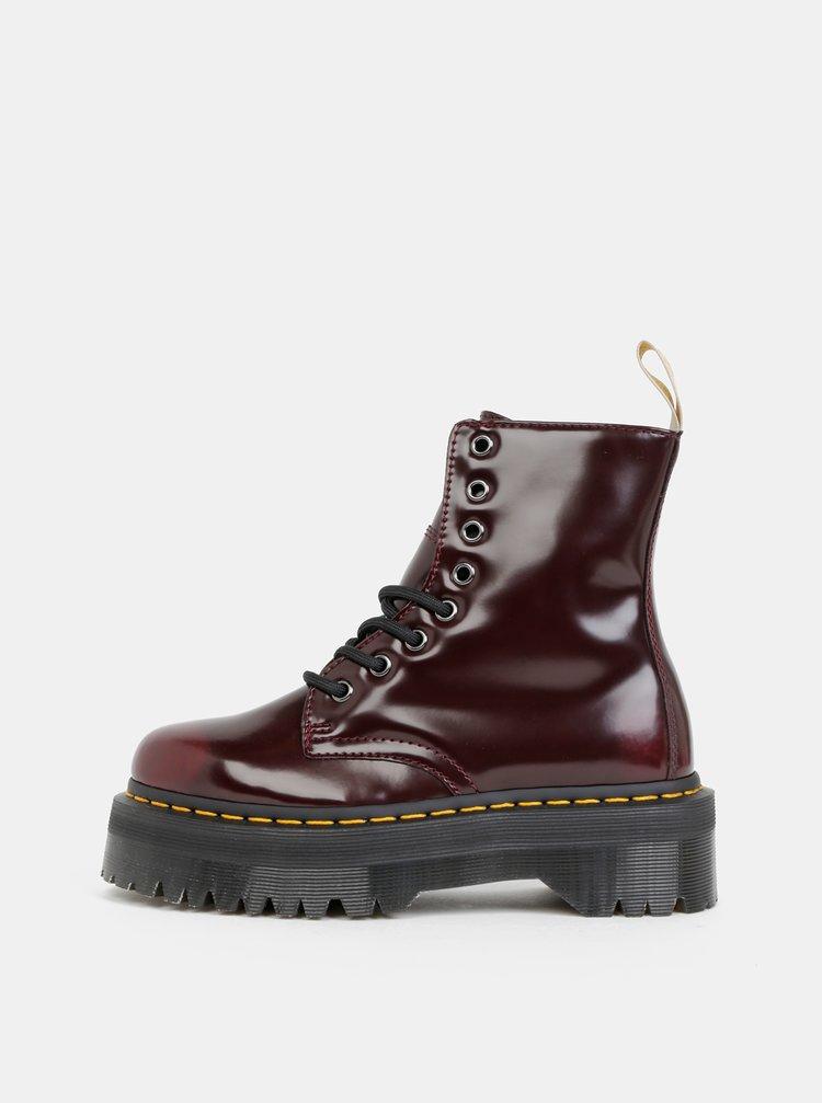Vínové dámské kotníkové boty na platformě Dr. Martens Vegan Jadon