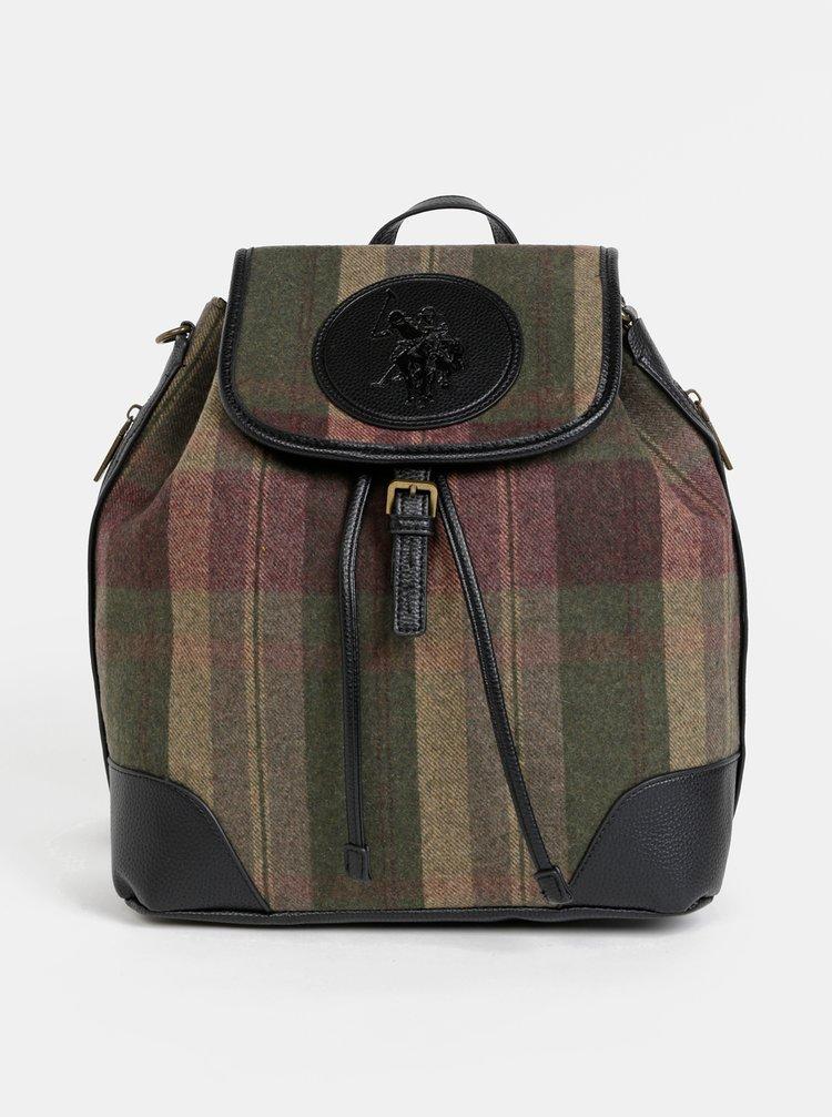 Khaki dámský kostkovaný vlněný batoh/vaková kabelka U.S. Polo Assn. Newburgh