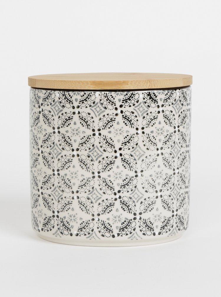 Černo-krémová vzorovaná keramická dóza Tranquillo Ayla