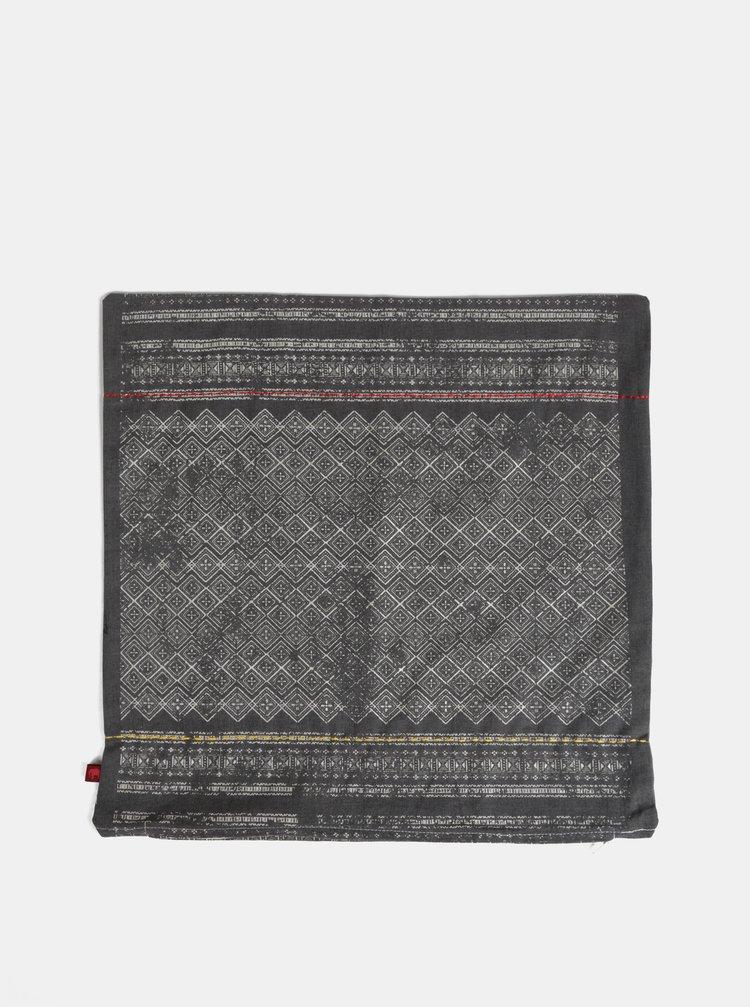 Tmavě šedý vzorovaný povlak na polštář Tranquillo Kurt