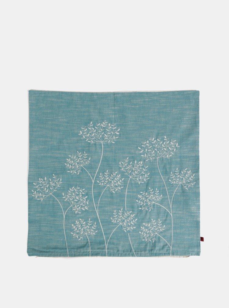 Modrý květovaný povlak na polštář s výšivkou Tranquillo Cian