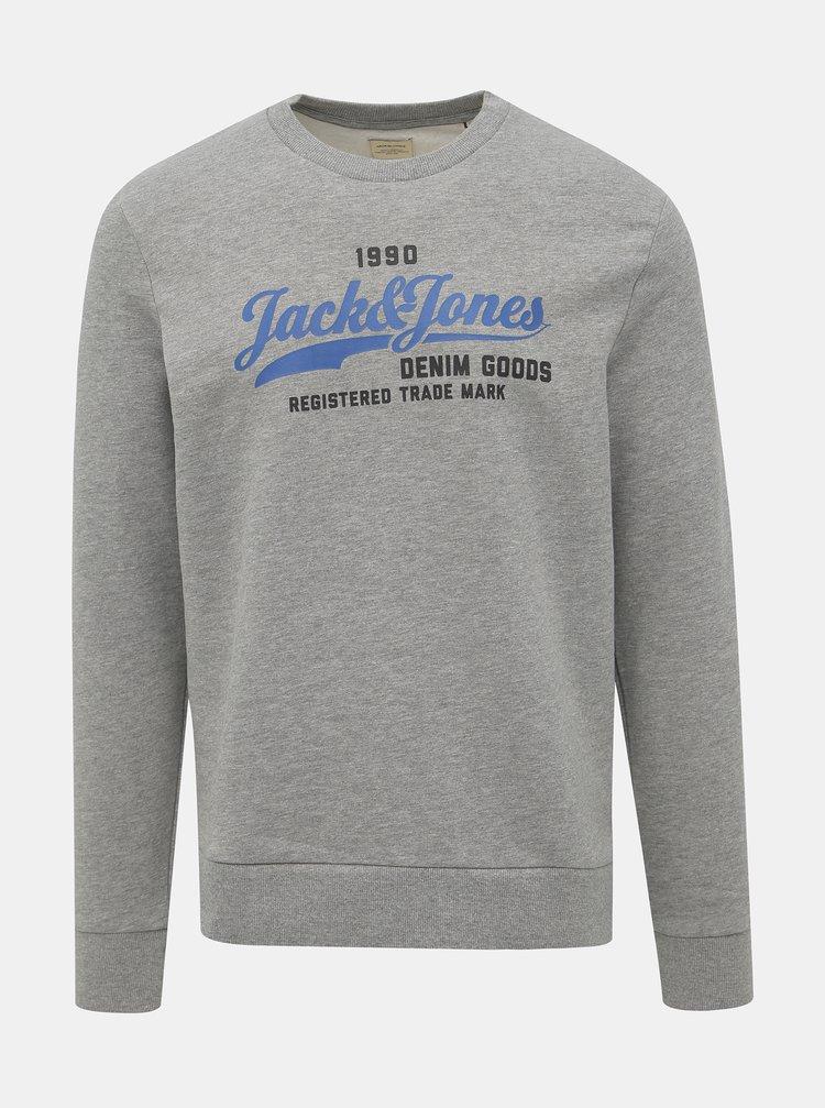 Světle šedá mikina s potiskem Jack & Jones