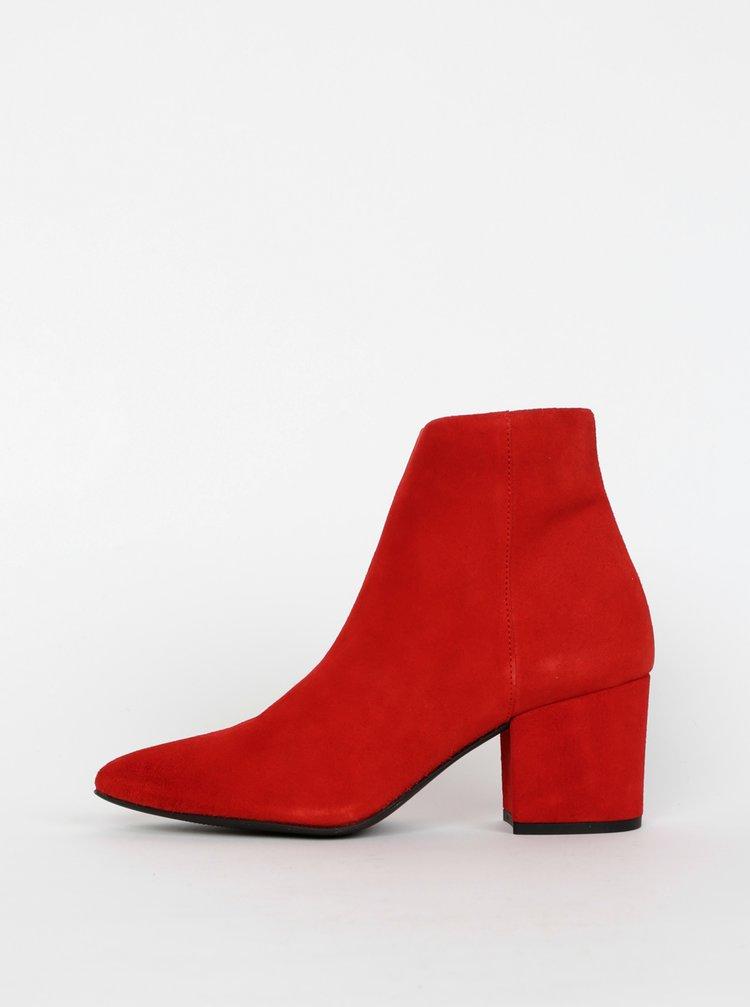 Červené semišové kotníkové boty VERO MODA Astrid